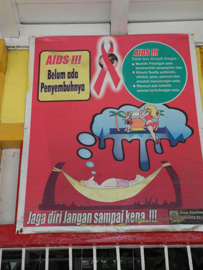 HIV prevention  Indonesian style  stay away from blondesHiv Prevention Poster