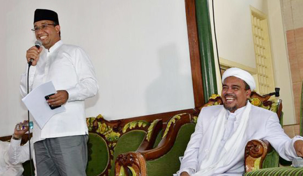 FPI leader Habib Rizieq cosies up with Anies Baswedan