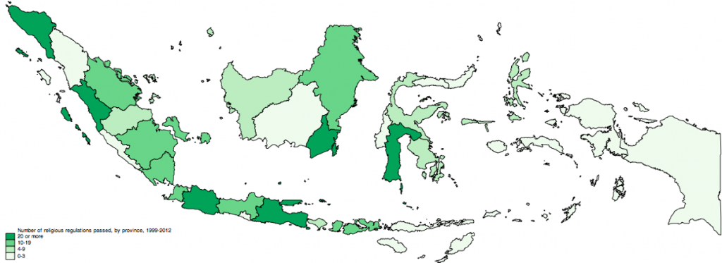 Number of sharia-type regulations passed in Indonesia by province, 2001-2012