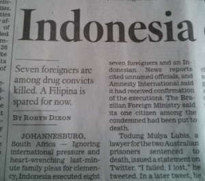 LA Times Indonesia storty, dateline Johannesburg