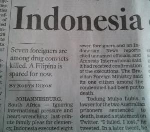 LA Times Indonesia storty, dateline Johannesburg