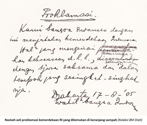 Indonesian declaration of independence, taken from waste-paper basket