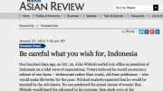 Elizabeth Pisani reviews Joko Widodo's first 100 days as Indonesian president in the Nikkei Asian Review