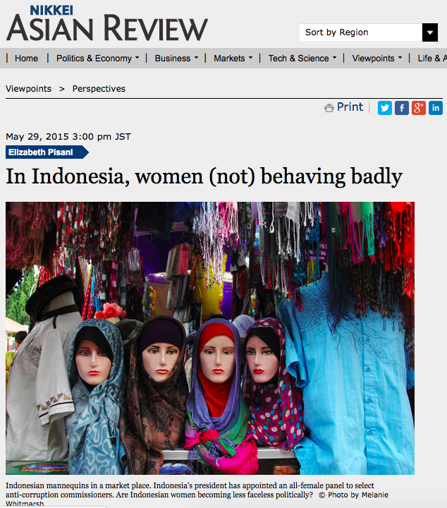 Elizabeth Pisani essay on women in Indonesia, Nikkei