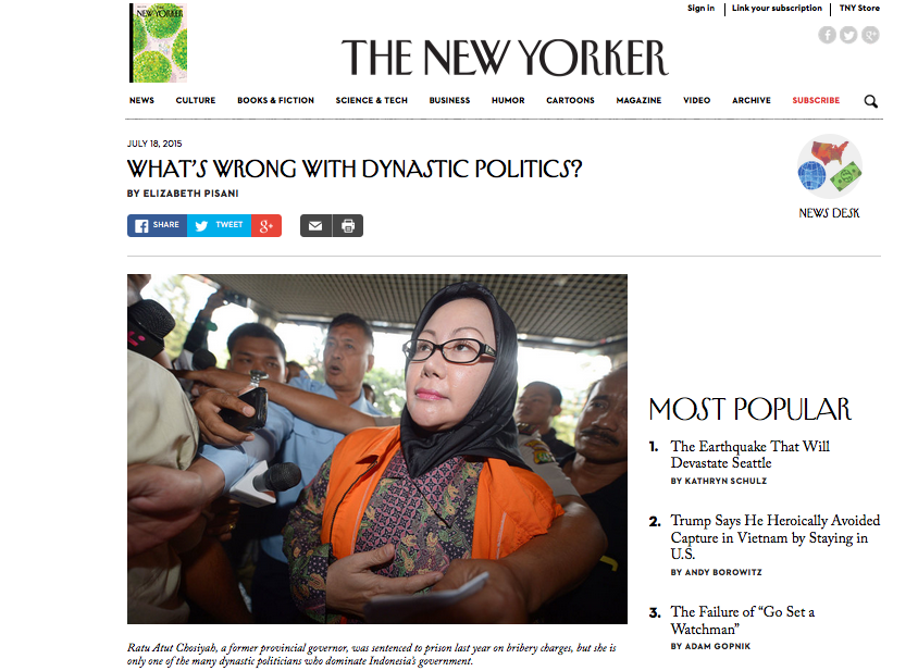New Yorker article about dynasty politics in Indonesia, by Elizabeth Pisani