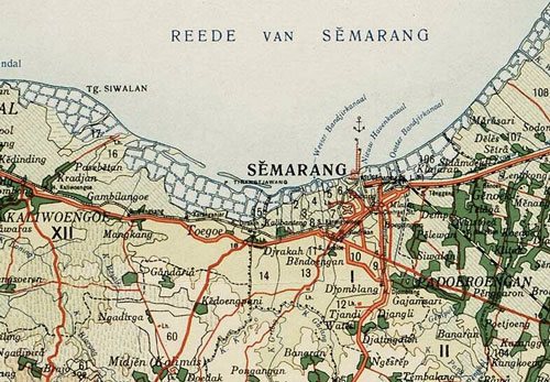 A map of the Indonesian port of Semarang in 1914