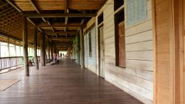 The communal verandah of a Dyak longhouse
