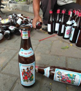 Alcohol bottles for recycling in Indonesia
