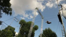 Elizabeth Pisani tries trapeze flying