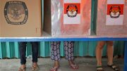 Voting booth in Indonesian elections