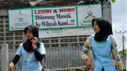 Banner in Jakarta reads: Lesbis and Gays: No entry to our neighbourhood!