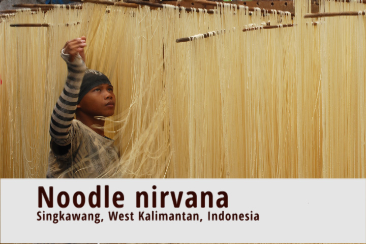 A noodle factory in Indonesian Borneo; what it lacks in hygiene, it makes up for in taste