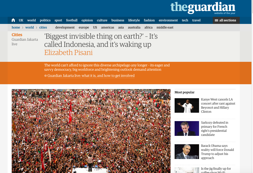 Screenshot of Guardian report on Indonesia