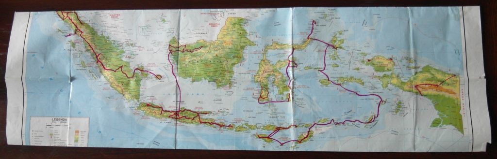 A map of Indonesia, showing the route travelled by Elizabeth Pisani in 2012-2012
