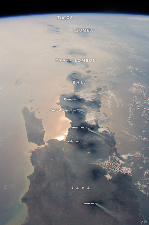 A view of East Java and beyond, taken from the International Space Station