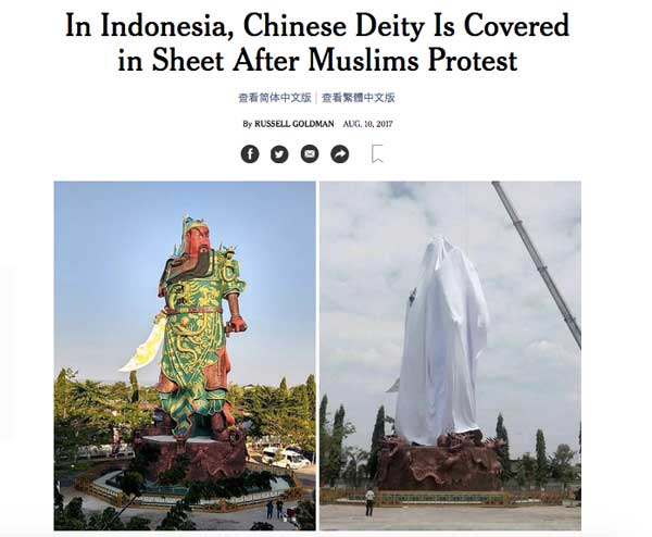 Excerpt from New York Times article about Moslem protests over Chinese statue in Indonesia